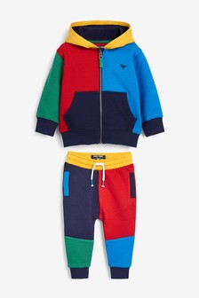 Multi Colourblock Zip Through Top And Joggers Set (3mths-7yrs)