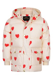 Girls Ivory Hearts Padded Jacket