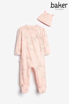 Baker by Ted Baker Pink Ribbon Sleepsuit And Hat