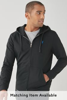 Black Lightweight Zip Through Hoodie
