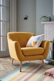 Soft Marl Ochre Lacey  Armchair With Light Legs