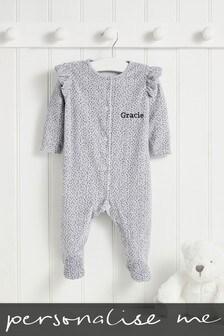 Personalised Grey Spot Velour Sleepsuit