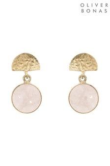 Oliver Bonas Pink Marisol Semi Circle & Round Stone Earrings