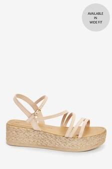 Blush Metallic Strappy Flatform Sandals