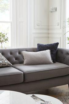 Silver Soft Velour Pom Edge Rectangle Cushion