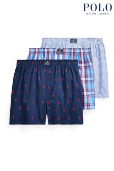 Polo Ralph Lauren Multi Blue Woven Boxers Three Pack