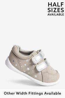 Grey Leather Standard Fit (F) First Walker Shoes