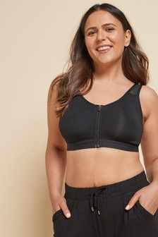 Black Post Surgery Zip Bra