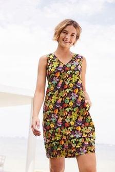 Black Tropical Print Linen Blend Pintuck Shift Dress