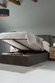 Charcoal Hamilton Ottoman Storage Bed