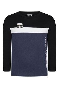 Boys Black & Blue Cotton Long Sleeve T-Shirt