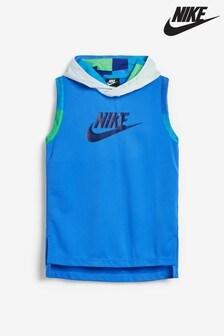 Nike Blue Mesh Hooded Vest