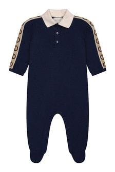 Baby Boys Navy Piquet Logo Trim Babygrow