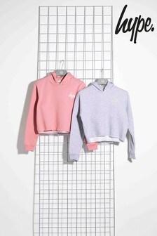 Hype. Pink/Grey Cropped Mini Script Kids Hoodies 2 Piece Set