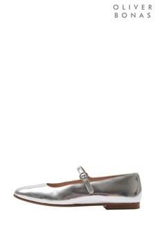 Oliver Bonas Silver Mary Jane Shoes