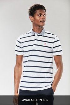 White Stripe Chambray Collar Rugby Shirt