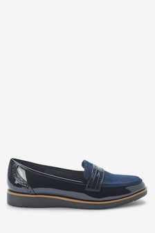 Navy Forever Comfort® Brogue Detail Chunky Sole Loafers