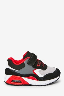 Black/Red Elastic Lace Trainers (Younger)