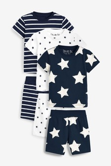 Navy 3 Pack Star And Stripe Shorts Pyjamas (9mths-12yrs)