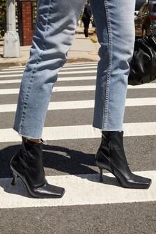 Black Signature Square Toe Sock Ankle Boots
