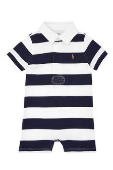 Baby Boys Navy Cotton Romper
