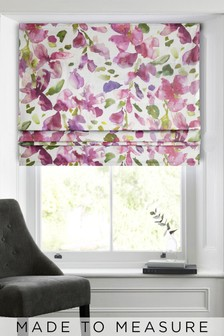 Watercolour Floral Pink Made To Measure Roman Blind