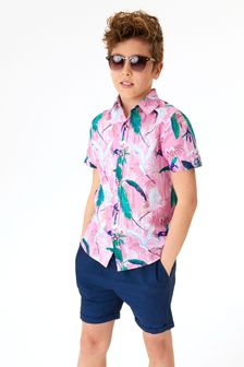 Pink Tropical Print Short Sleeve Shirt (3-16yrs)