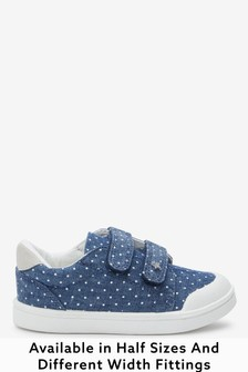 Denim Standard Fit (F) Canvas Bumper Toe Trainers (Younger)
