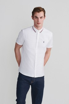 White Slim Fit Stretch Oxford Tipped Collar Short Sleeve Shirt
