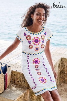 Boden White Laura Linen Embroidered Dress
