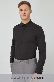 Black Slim Fit Double Cuff Cotton Shirt