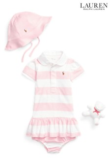 Ralph Lauren Pink And White Stripe Dress Gift Set