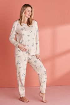 Oatmeal Zebra Jersey Maternity Pyjamas