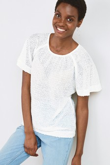 White Sequin Flute Sleeve Top