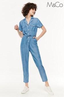 M&Co Blue TENCEL™ Short Sleeve Boilersuit