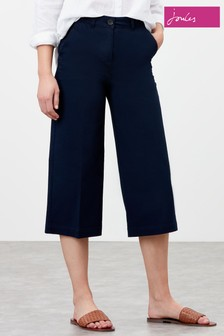 Joules Blue Compton Wide Leg Cropped Chino Trousers