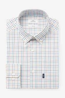Ochre Tattersall Check Slim Fit Single Cuff Easy Iron Button Down Oxford Shirt