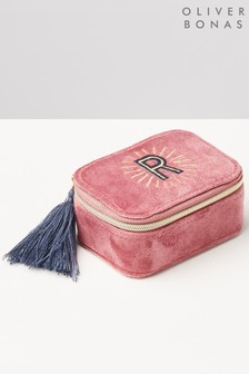 Oliver Bonas Sol Pink Velvet Alphabet R Travel Jewellery Box