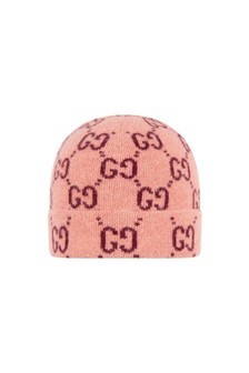 Kids Pink Knitted GG Hat