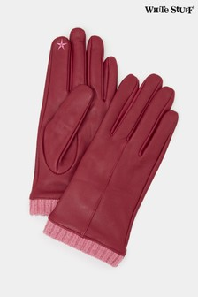 White Stuff Claret Wool Cuff Leather Gloves