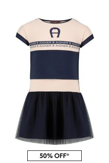 Aigner Girls Navy Cotton Dress