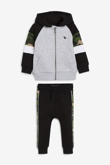 Grey Camouflage Colourblock Zip Through Hoody And Joggers Set (3mths-7yrs)