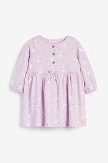 Lilac Jersey Button Dress (0mths-2yrs)