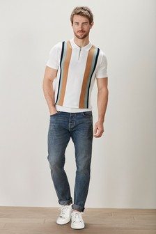 Ecru Vertical Stripe Knitted Polo