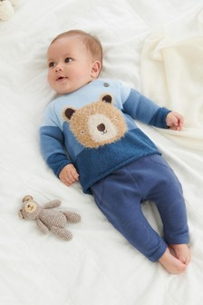 Blue Bear Stripe Knitted Jumper (0mths-2yrs)
