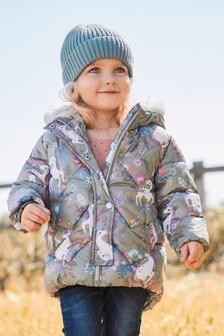 Khaki Unicorn Shower Resistant Padded Jacket (3mths-7yrs)