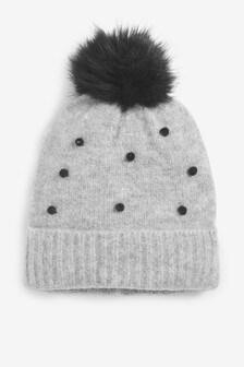 Grey Spot Pom Hat