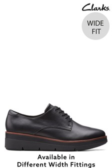 Clarks Black Leather Shaylin Lace Shoes
