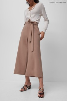 French Connection Brown Whisper Belted Culottes