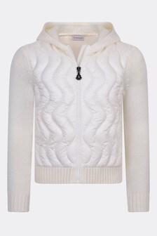 Girls Ivory Wool Zip Up Top
